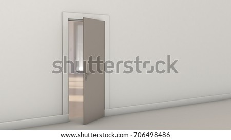 3d rendering. White room interior with blank wall with door. Used for background.