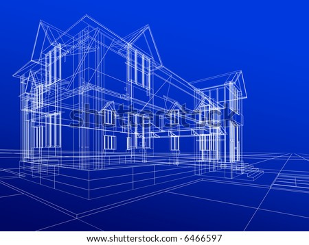 3D rendering wire-frame of house. - stock photo
