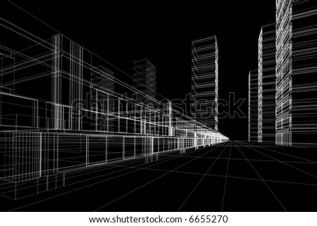 3D rendering wire-frame of office buildings. Concept - modern city, modern architecture and designing. - stock photo