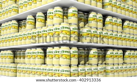 3D rendering with closeup on supermarket shelves with ice tea cans. - stock photo