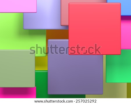 3d rendering with panels of a lot of colors