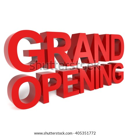 3D rendering word - GRAND OPENING isolated on white background