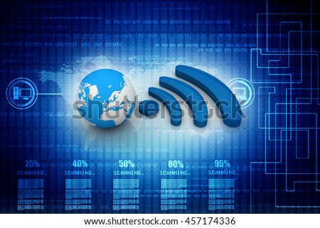 3d rendering World wifi concept isolated on digital background - stock photo