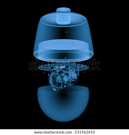 3d rendering x ray security camera or cctv camera isolated on black