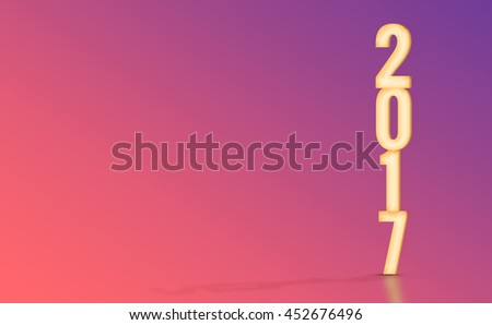 2017(3d rendering) yellow number with material design color backdrop,Happy New Year holiday concept,Leave space for display your product. - stock photo