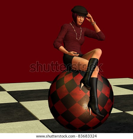 3d renderingof a young fashion-conscious female  in a seated pose as an illustration - stock photo