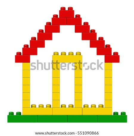 3d renderng of abstract house from plastic building blocks isolated over white background