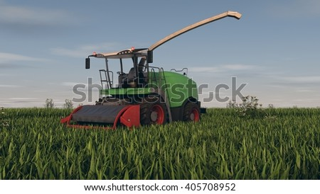 3d renderring of a grass combine - stock photo