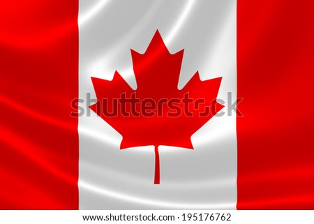 3D rendition of the flag of Canada on satin textile texture. - stock photo