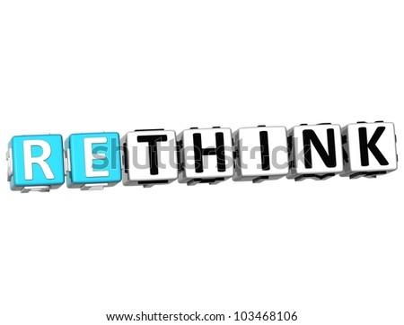 3D Rethink Crossword on white background - stock photo
