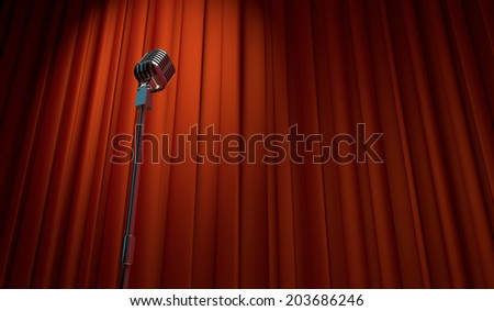 3d retro microphone on red curtain background, low angle view   - stock photo