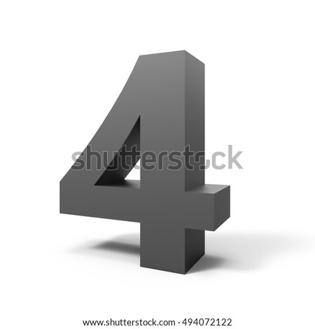 3d right leaning grey number 4, 3D rendering graphic isolated white background