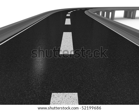 3D Road and the bridge on a white background - stock photo