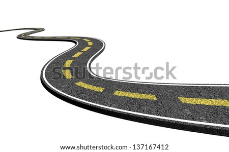 3D road - isolated over a white background - stock photo
