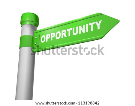 3d road sign and word opportunity - stock photo