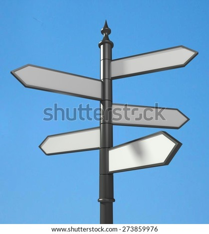 3D. Road Sign, Direction, Sign. - stock photo