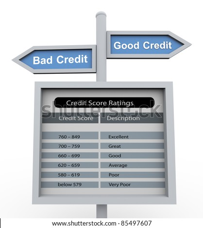 3d road sign of text 'good credit' and 'bad credit' with chart of credit score range - stock photo
