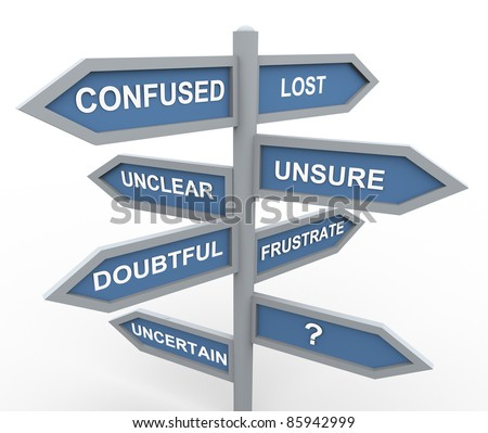 3d road sign of various words related to confusion during making decision - stock photo