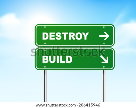 3d road sign with destroy and build isolated on blue background