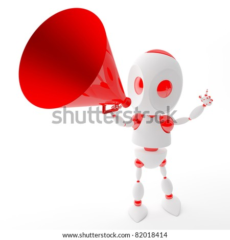 3d robot shout with a red megaphone - stock photo