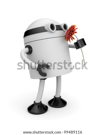 3d robot sniffing flower - stock photo