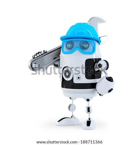3D Robot with adjustable wrench. Technology concept. Isolated.  - stock photo