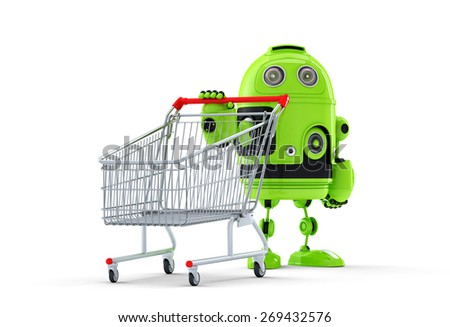 3d robot with shopping cart. E-shop concept. Isolated over white background - stock photo