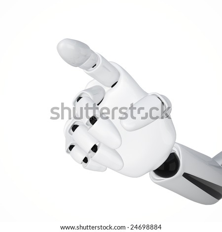 3d robotic hand with pointing finger showing some direction. Clipping path included. - stock photo