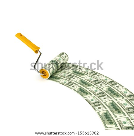 3d. Roller brush with dollar on white isolated background.