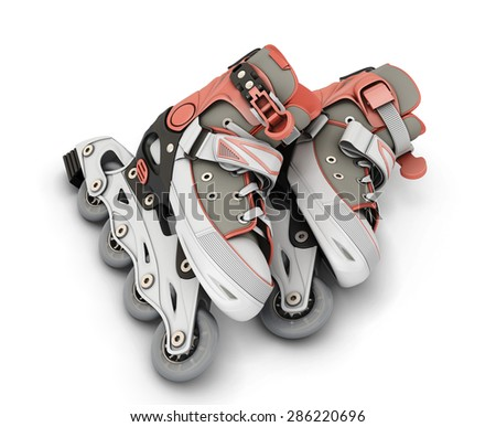 3d roller skates isolated on white background. 3d render image. - stock photo