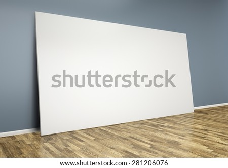 3d  room with blank poster on wall - stock photo