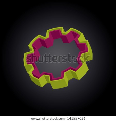3D rotated gear with yellow and purple layers - stock photo