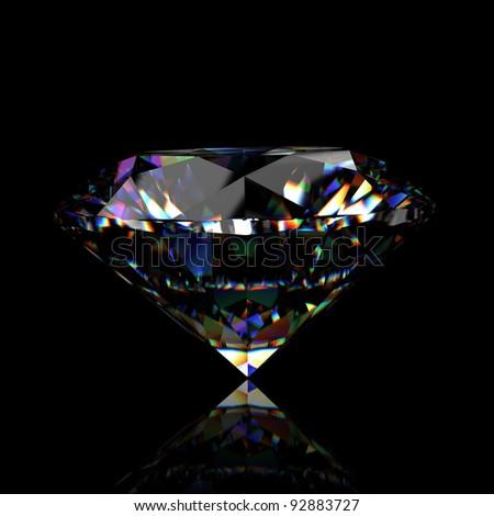 3d Round brilliant cut diamond perspective - stock photo