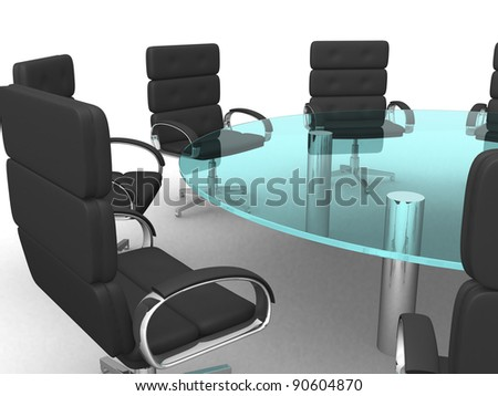 3d round conference room, isolated on white - stock photo
