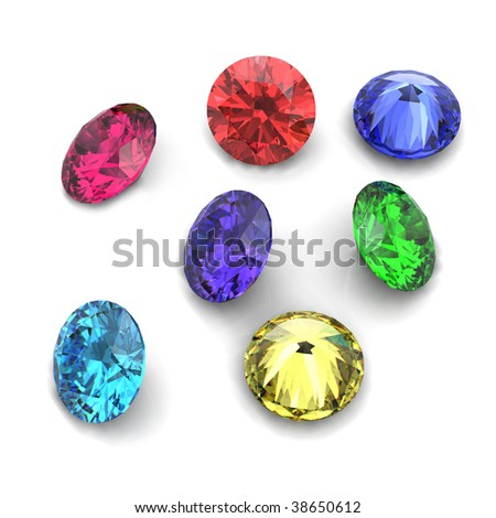 3d Round gems cut diamond perspective isolated - stock photo