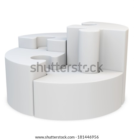3d round jigsaw puzzle on white background
