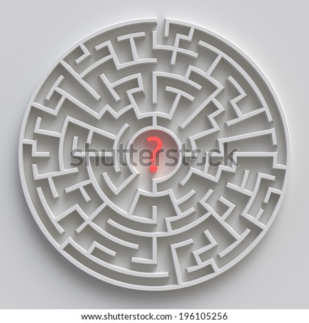 3d round maze, white labyrinth concept  - stock photo