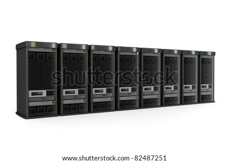 3d row of server racks isolated on white - stock photo