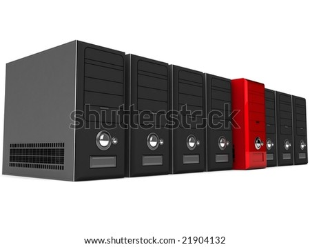 3D rows of cpu - stock photo