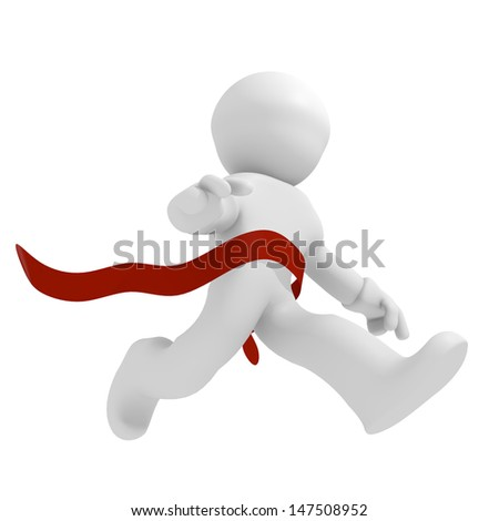 3d runner with a red ribbon, winning concept - stock photo