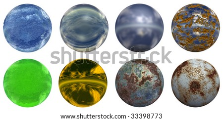 3d rusted steel, glass and gold spheres set or collection isolated on white,ideal for 3D symbols, web buttons or logo designs - stock photo