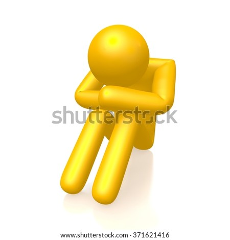 3D sad human character - great for topics like being lost, confused, depressed etc. - stock photo