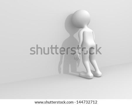 3d sad person - 3d render - stock photo