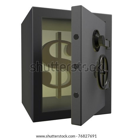 3d Safe deposit box with dollar signs in, on a white background