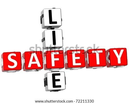 3D Safety Life Crossword on white background - stock photo