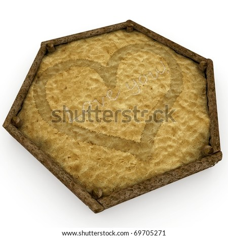 3d sandbox with valentine's day love message isolated on white - stock photo