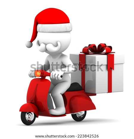 3d Santa Claus delivering Christmas gifts on a scooter - stock photo