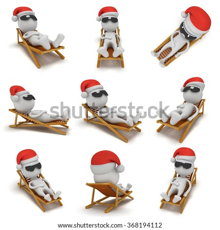 3d Santa Claus having a rest on chaise lounge isolated on white background. Christmas vacation concept set. Collection for your festive tourism design. - stock photo