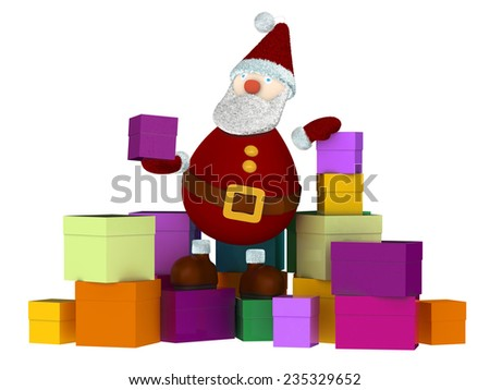3D Santa Claus sitting on a stack of colored gift boxes and holding a small present box isolated on white - stock photo