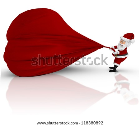 3D Santa pulling a gift sack - isolated over a white backgorund - stock photo